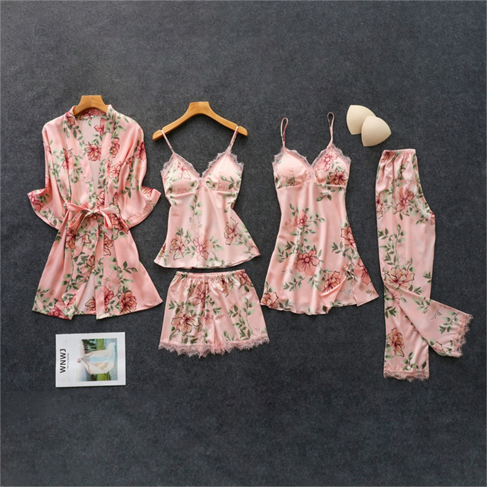 Daeyard Women's Pajamas Silk Floral Overall Print 5Pcs Pajama Set Satin Pyjamas Sexy Lace Pijama Nightie Sleepwear Home Clothes(China)