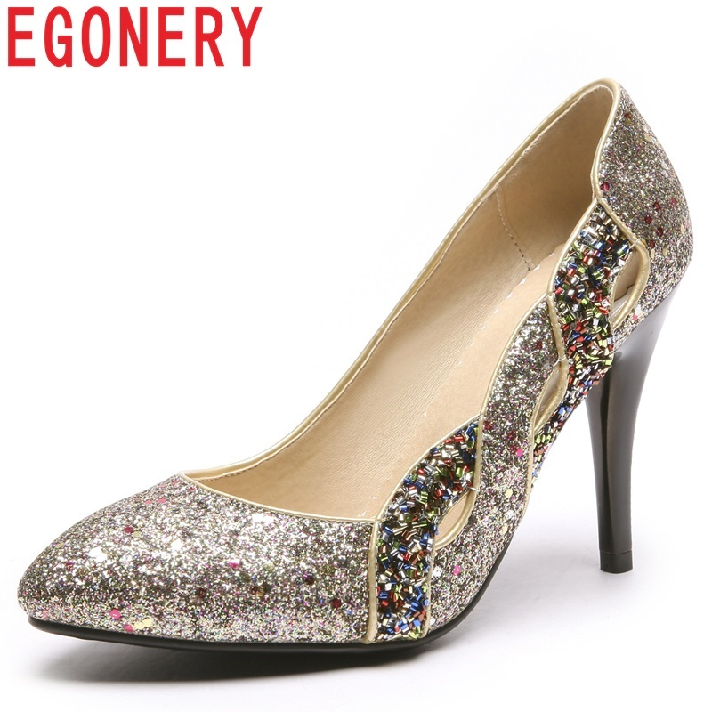 EGONERY women shoes new mixed colors sequined cloth super high thin heels pointed toe shallow outside fashion sexy party pumps