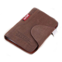 BOVIS Leather Business Card Holder Vintage Credit Card Holder Hasp Card Organizer Bags Travel Card Wallet