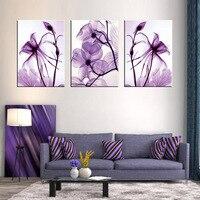 Combinado 3 Pçs/set Nova Flor Roxo Wall Art Prints Pintura Em Tela Abstrata Veias Flor Retrato Da Parede Da Lona para o Quarto