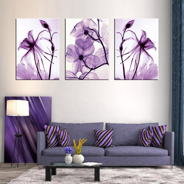buy combined 3 pcs set new purple flower wall art painting prints on canvas. Black Bedroom Furniture Sets. Home Design Ideas