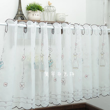 Wave Shade Roman Curtain Double-sided Embroidery Tulle Organza Window Valance Gauze Valance Cafe 42 60 87cm x 1.1 1.5 1.7 2.3m