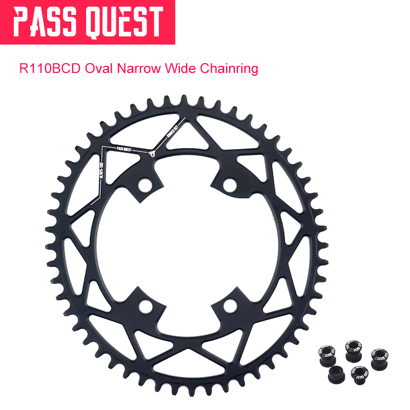 PASS QUEST Oval Narrow Wide Chainring 110BCD Road Bike Chain Wheel 42T 44T 46T 48T 50T