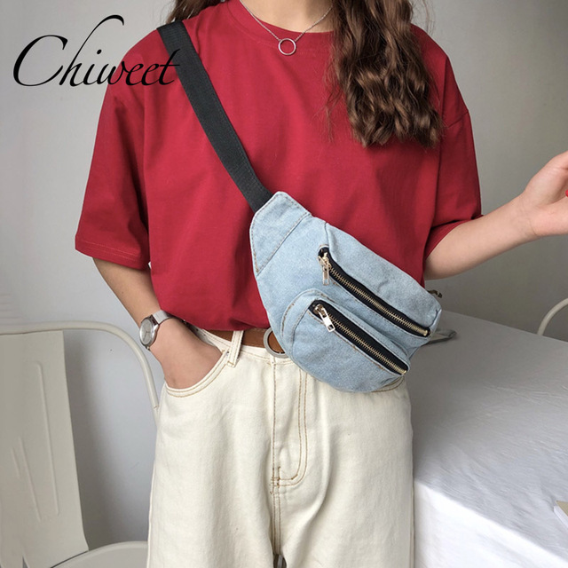 Casual Denim Chest Bag Women Handbags Fanny Waist Packs Bag Phone Pocket Belt Messenger Bags Unisex Shoulder Banana Bags Female