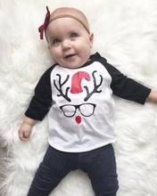2017 Newborn Baby Boys Christmas Deer Glasses Soft Cotton Long Sleeve T-shirt Tops Casual Pullover Clothes 0-2Y Christmas Gift(China)