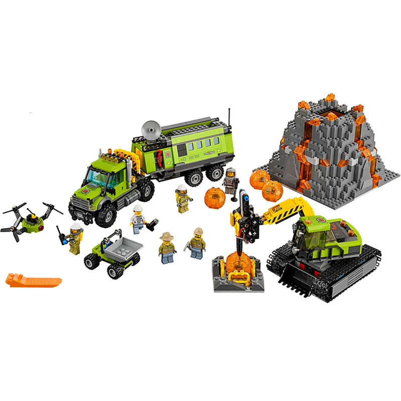 Lepin 02005 Volcano Exploration Base building bricks Toys for children Game Model Car Gift Compatible with Decool 60124 lepin 22001 imperial flagship building bricks blocks toys for children boys game model car gift compatible with bela decool10210