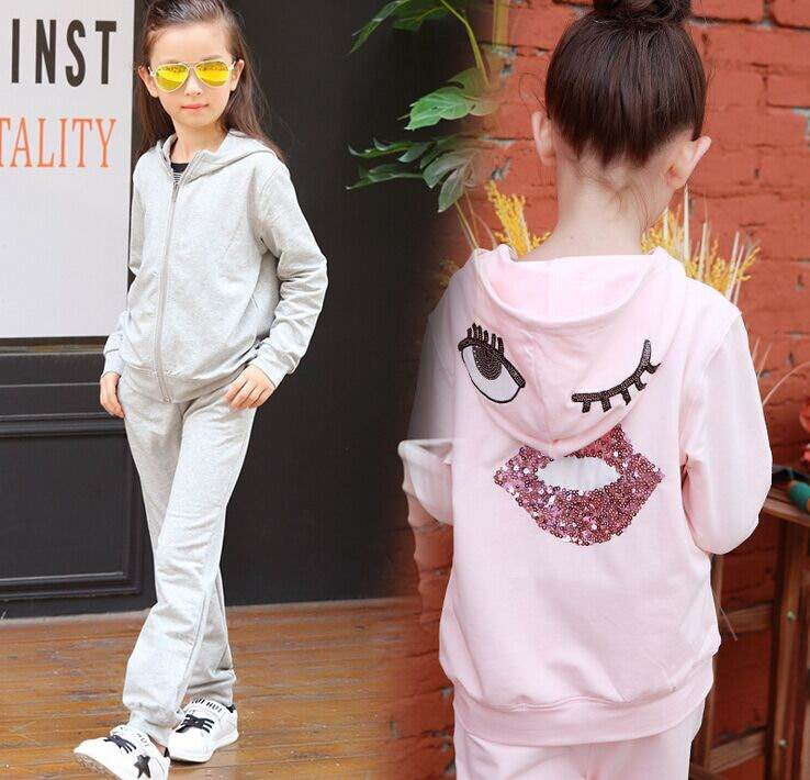 2017 Spring New Girl Two Piece Sets Sequins Lips Big Eyes Sport Long Sleeve Outfits Children Clothing 5-14Y 63106