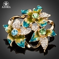 AZORA 3pcs Colorful Oil Painting Pattern Flower With Stellux Austrian Crystals Pin Brooch TP0018