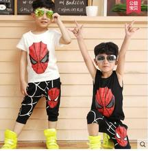 Retail Hot Sale Baby Boys Clothes Summer Teenage Children Clothing Sets Spider Man Kids Sleeveless T-Shirt+ pants Fahion