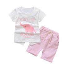 4a52b2683 MUQGEW 2019 Bebé Ropa de verano trajes para bebé niñas niños lindo elefante  de dibujos animados Tops camiseta pantalones cortos .