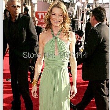 Ellen Pompeo Halter Light Green Evening Dress 2005 Emmy Awards Red ...