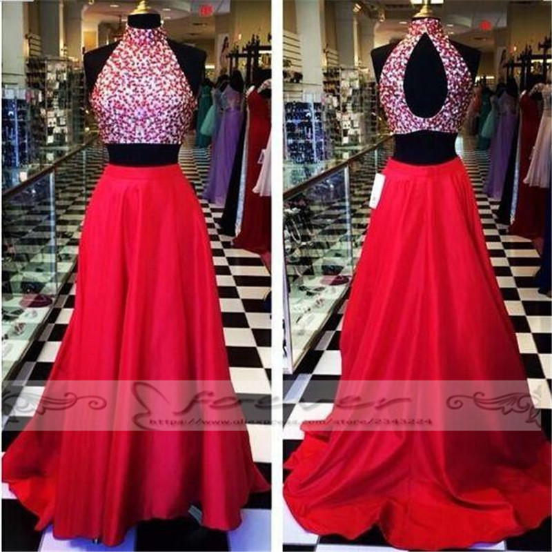 Flamboyant Red Crystal Beaded 2 Poeces   Prom     Dresses   2019 Burgundy Floor Length A-Line Party   Dress   Vestido De Baile Custom Made