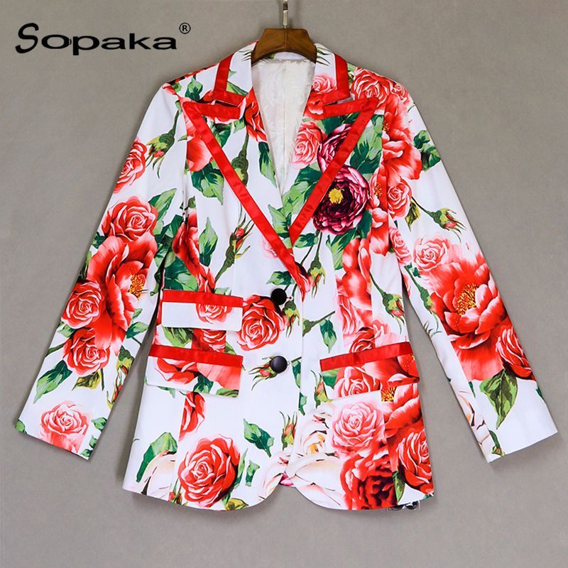 High Quality 2018 Autumn Newest Blazer Feminino High Street White Red Floral Print Slim Sweet Women Tops Jacket Clothing