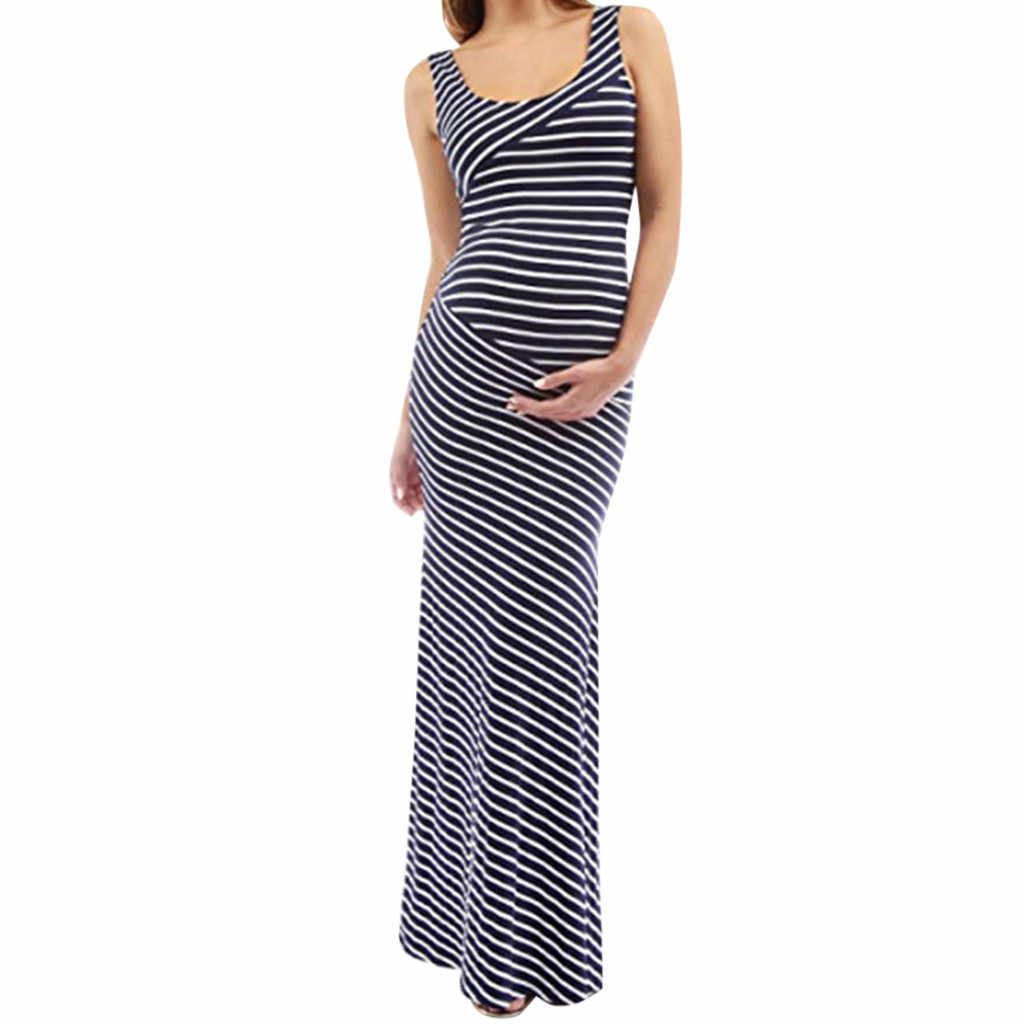 2e8db390db Maternity Dresses Women Sleeveless Pregnancy Stripe Summer Long Dress  Clothes 2019 New Arrival ropa premama embarazadas