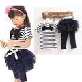 Новый Бренд моды Baby Girl Одежда Дети Установить Летом Бантом Носить Короткий рукав набор Детской Одежды Костюм тенниска + брюки