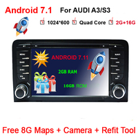 7 Octa 4 Core 2G RAM Android 7.11 Car DVD Radio Player for Audi A3/S3(2003 2013) stereo with TPMS/OBD2/4G/DAB+/GPS/WIFI