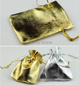 25pcs /lot 7*9/9*12cm Gold/Silver Drawable Christmas Pouch Hot Stamping Organza Gift Bags For Jewelry Wedding Packing F1736