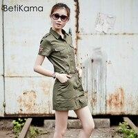 BetiKama Women Summer Short Sleeve Military Dress Casual Fashion Slim Mini Army Green Turn down Collar Ladies A Line Green Dress
