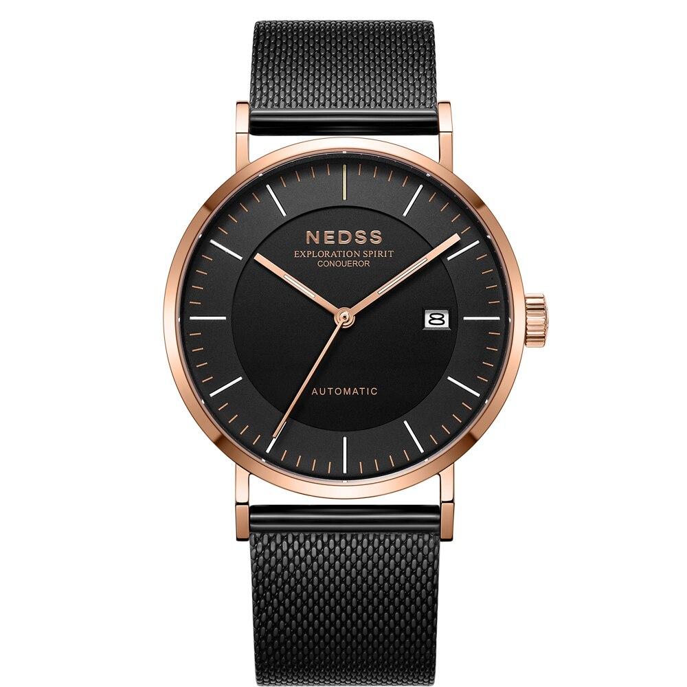2018 NEDSS Haute Qualité miyota 9015 Automatique mécanique Montres en cuir véritable montre hommes montres 50 m étanche horloge montre
