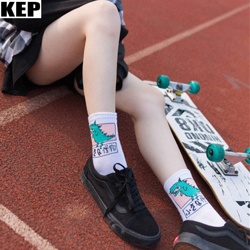 KEP New Fashion Harajuku Streetwear Cute Animal Dinosaur   Socks   for Women Ladies Funny Japan Kawaii Women   Socks   Gift Dropshipping