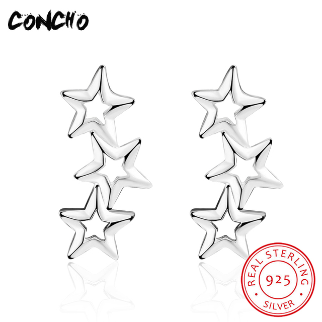 2018 Limited Real Trendy Star Party Orecchini Concho Jewelry 925 Sterling Silver