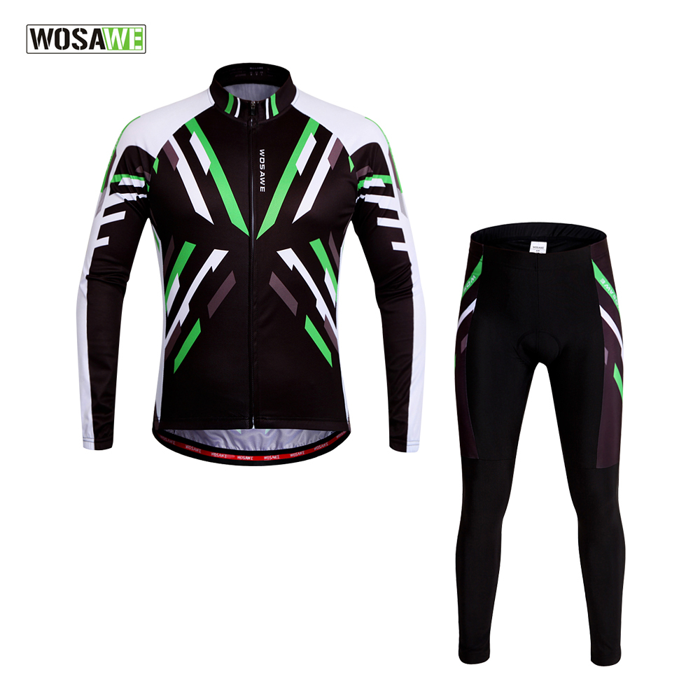 WOSAWE Spring & Summer Long Sleeve Cycling Jersey Suit Men MTB Bike Tights High Quality Gel Cycling Clothings Green &Black wosawe men s long sleeve cycling jersey sets breathable gel padded mtb tights sportswear for all season cycling clothings