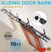 New 10 FT Black Modern Antique Style Sliding Barn Wood Door Hardware Closet Set