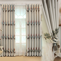 RZCortinas Luxury Embroidered Curtains for Living Room Pastoral Clover Leaf Window Cloth Curtains for Bedroom Window Drapes