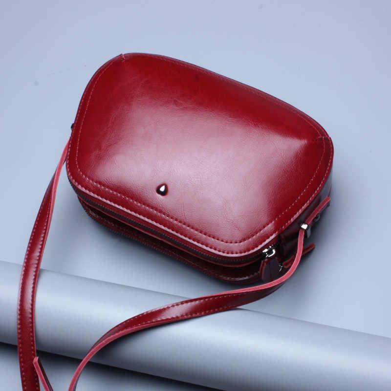 Duplo Zíper saco de Mini Saco Das Mulheres De Alta Qualidade Genuína Sacos de Ombro de Couro do couro Primavera Pequeno Ocasional Bolsa Marrom Cor Azul