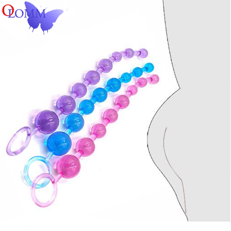 Crystal Ball Butt Plug Long Soft Rubber Anal Plug Beads Orgasm Vagina Clit Pull Ring Ball Toys Adults Women Stimulator Anal Sex