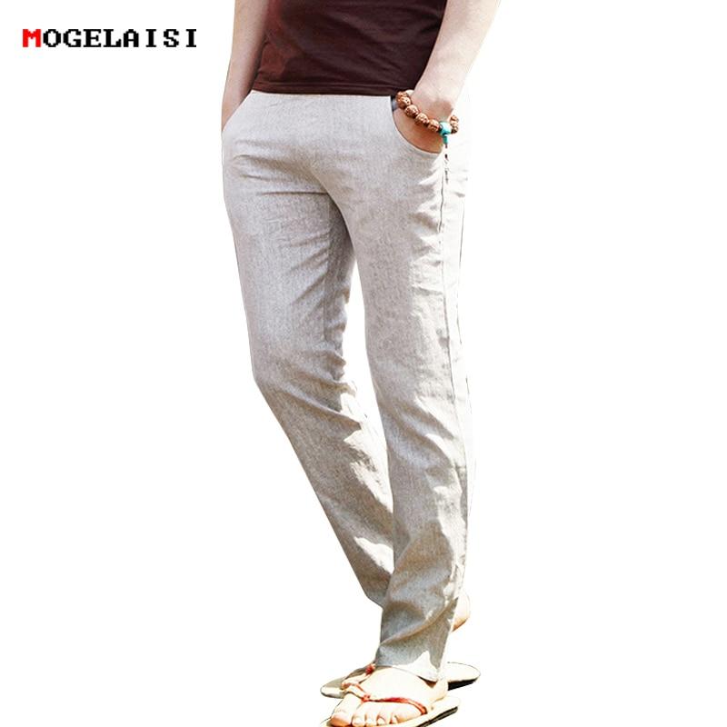 2018 Flachs Hosen Männer Voller Leinen Baumwolle Hosen Taille Bereich 70-112 Cm Kordelzug Feste Hosen Männer Leinen Hosen Asiatische Größe M-3xl