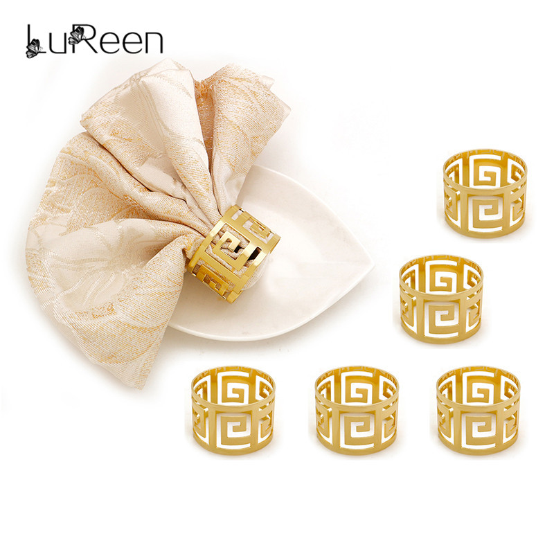 Lureen 6pcs/lot  Alloy Napkin Ring For Wedding Hotel Gold Napkin Holder West Dinner Towel Serviette Ring Table Decoration Party