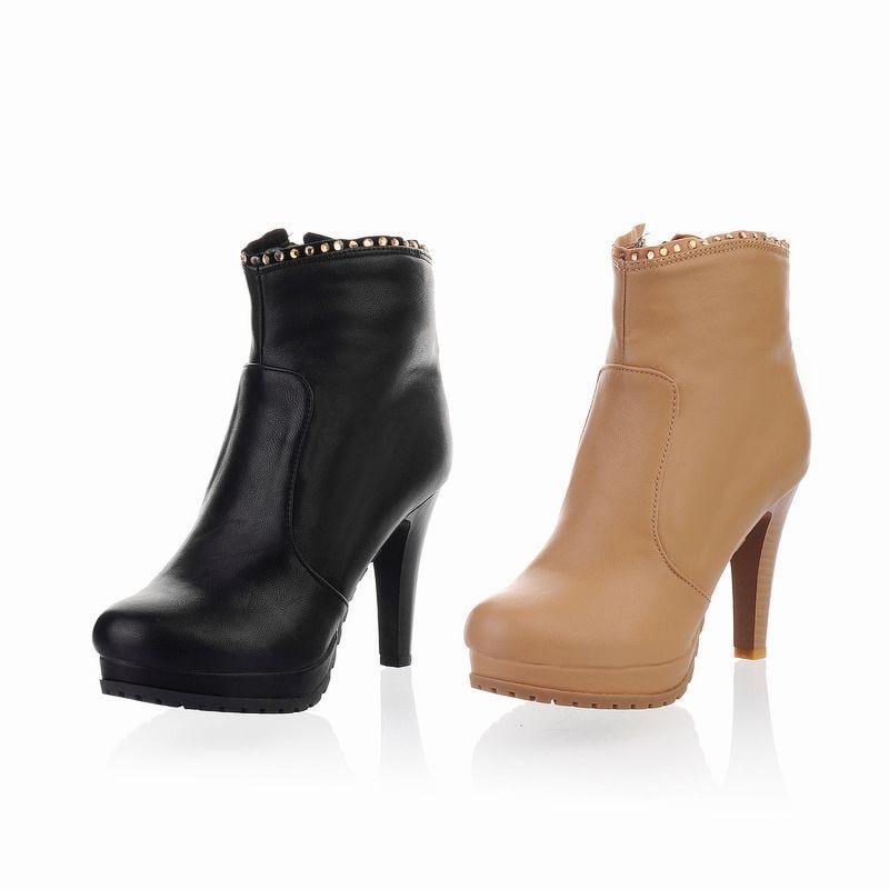 Plantform Cuero Maneras Hasta Beige Zapatos Altos Impermeable Botas Rodilla Tipos La Mujer Con Mujeres 2 Las negro Tacones IxvUFg