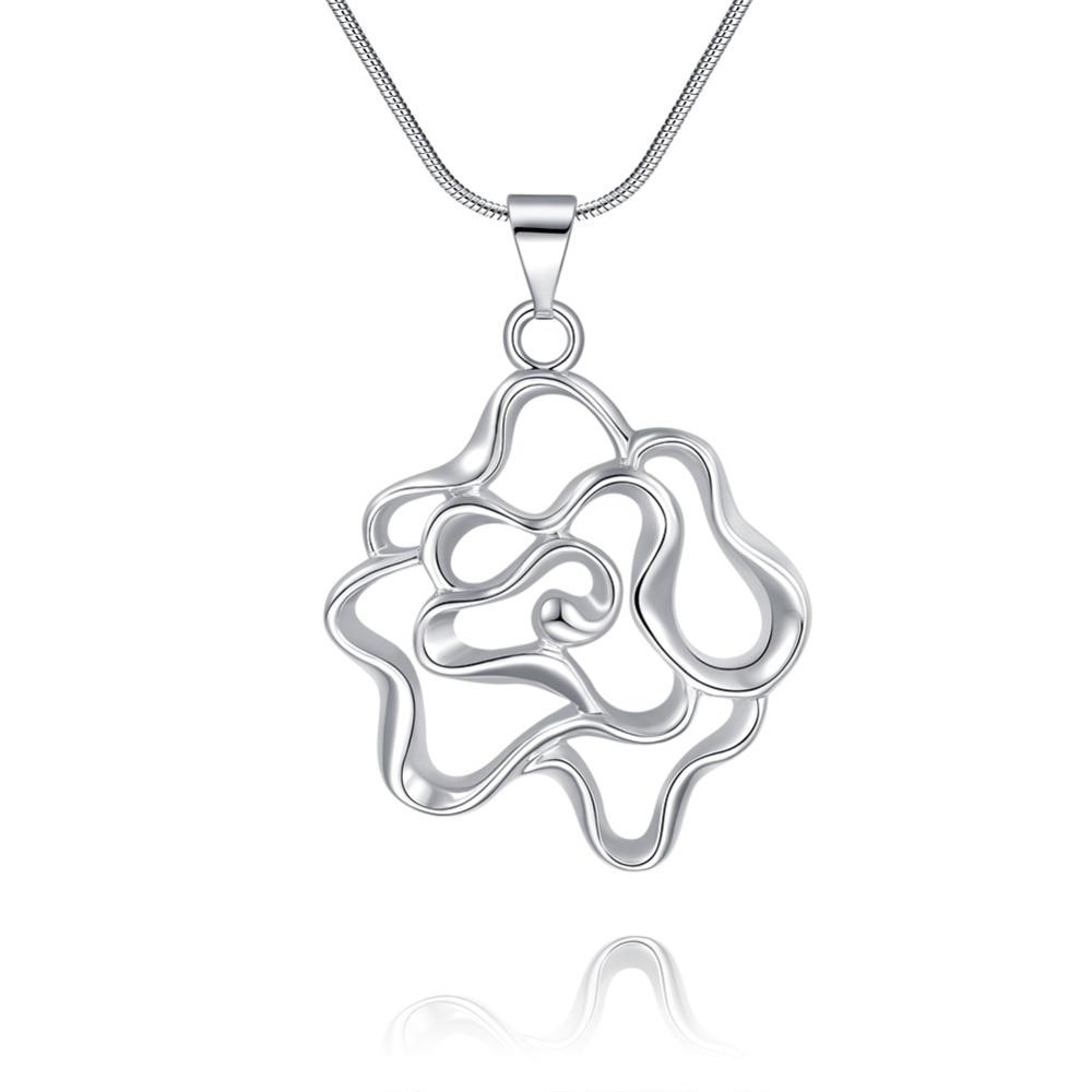 f59d2870e9fd N945 plata esterlina 925 onda hueco Rosa flor collar colgante para las  mujeres que casan la manera fina jewerly promoción