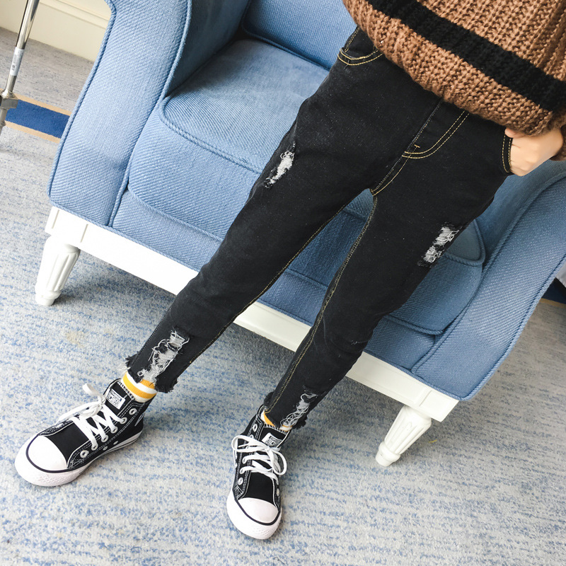 Autumn Full Length Baby Girls Jeans Black Denim Pants Fashion Kids Skinny Ripped Jeans Pants for Children Hole Pencil Trousers autumn women fashion jeans high waist button denim jeans full length pencil pants feminino trousers