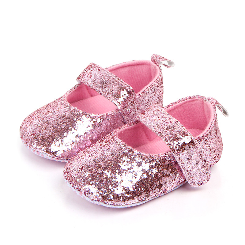 NEW Baby Girls Silver Glitter Pink Bow Ballet Crib Shoes 0-6 6-12 12-18 Months