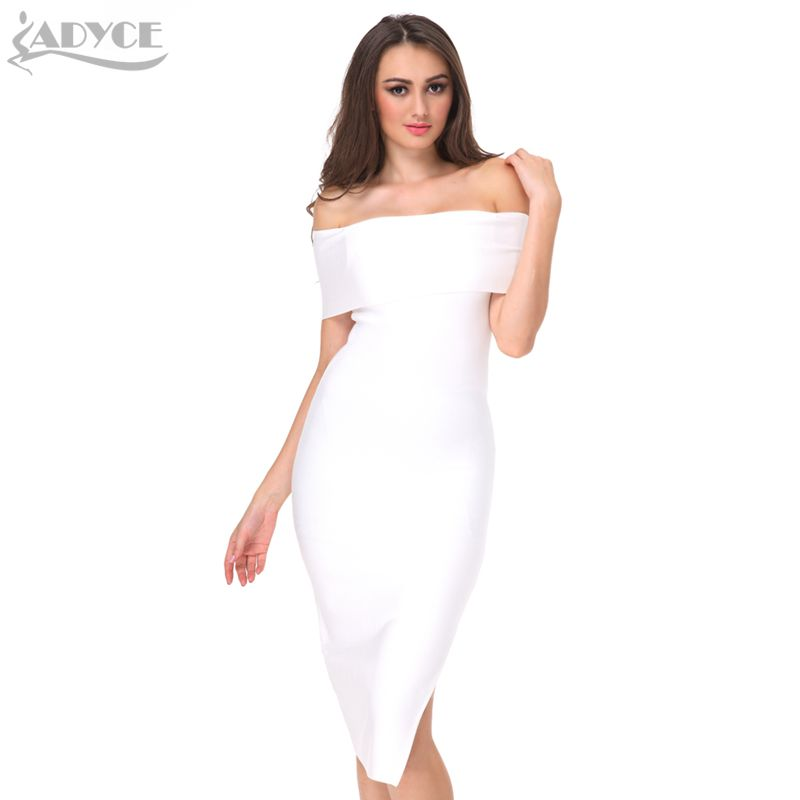 product ADYCE 2017 new Celebrity Runway Bandage Dress white black red Sexy Off -Shoulder bodycon women evening party knee-length Dress