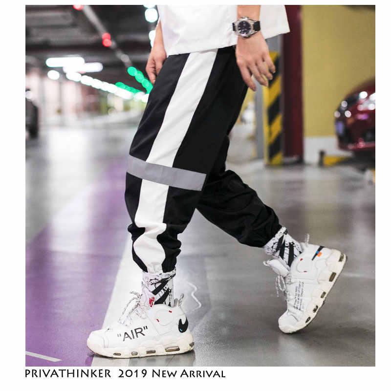 Privathinker Seite Streifen Track Jogger Hosen Männer 2020 Reflektierende Label Track Harem Hosen Homme Streetwear Männlichen HipHop