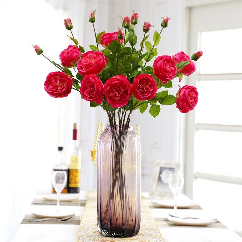 1pcs 2head High Grade French Rose Silk Artificial Flower For Wedding Decorative Arrangement Garden Decor Home 4 Colours