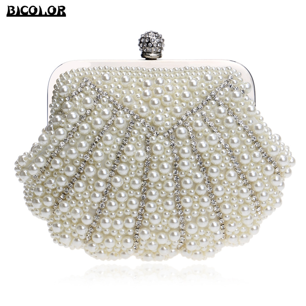 BICOLOR Luxury Fashion Exquisite Beaded Evening Bag Women Elegant Pearl  Clutch Bags Party Bag White Pearl for Ladies Clutch Bag