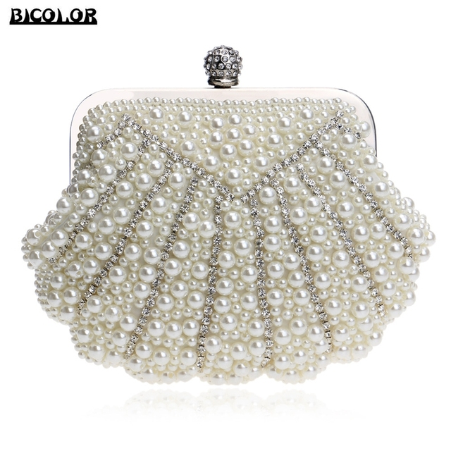 BICOLOR Luxury Fashion Exquisite Beaded Evening Bag Women Elegant Pearl  Clutch Bags Party Bag White Pearl bae037c1a642