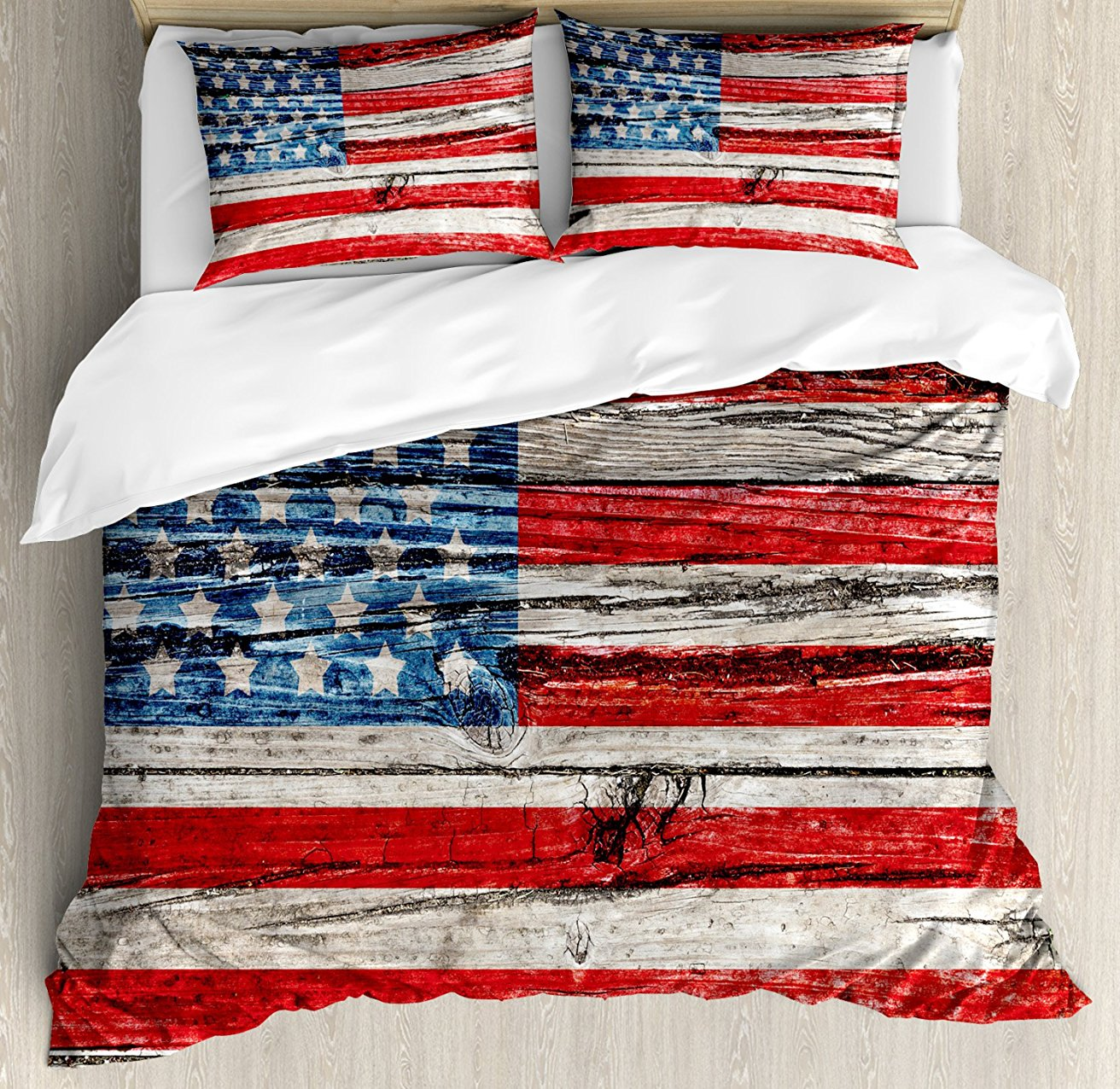 Rustic American USA Flag Duvet Cover Set Fourth of July ...