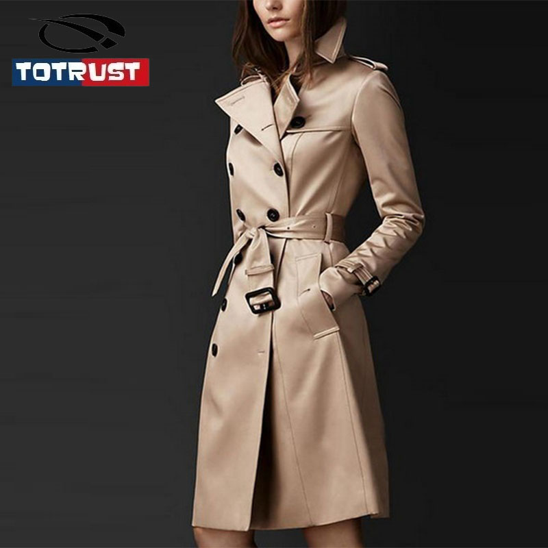 TOTRUST   Trench   Coat Women 2018 Autumn New Arrival Double-Breasted Turn-Down Collar Long Cotton Outwears Elegant Slim Long   Trench