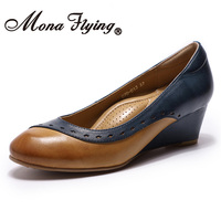 Mona Flying Women's Leather Wedge Pumps Shoes Slip on Handmade Round Toe High Heel Mixed colors Shoes for Women Ladies 078 B13
