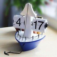 Retro Auto Flip Clock Vintage Table Clock Flip Page Steamship Sailboat Decorative Kids Room Digital Desk Watch Home Decor