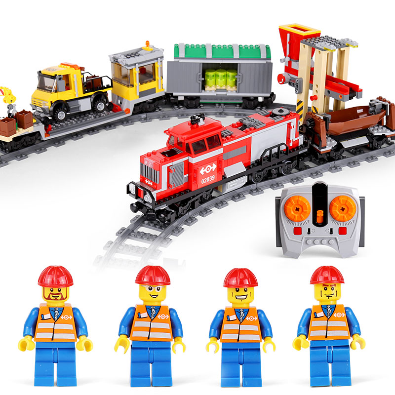 DHL LEPIN 02039 City Series Red Cargo Train Set Remote Control Building Blocks Bricks Children Toys Compatible With lego 3677 dhl lepin 02038 1767pcs city series the city square education building blocks bricks toys compatible 60097 in stock