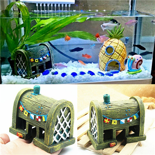 1Pc Mini Resin Comic Spongebob House Micro Underwater Landscape Aquarium Fish Tank Ornament Decorations Aquatic Animals Toys