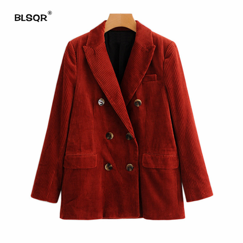 Autumn Fashion Women Corduroy Blazer Jackets Red Long Sleeve Pockets Double Breasted Female Jackets Casual Ladies Office Coat