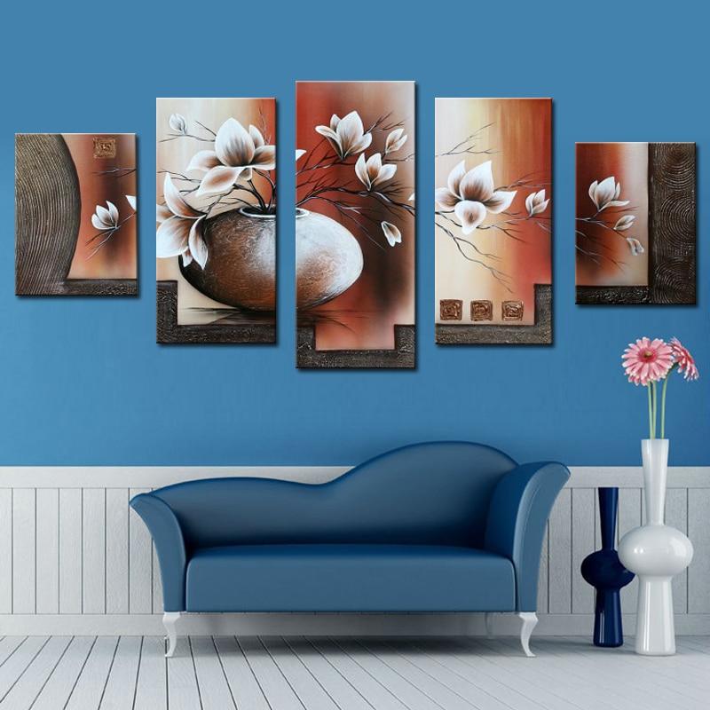 5 kusů malby na plátně 100% ručně vyráběné krásné květinové olejomalby do jídelny moderní plátno umění domácí dekorace nástěnné obrazy