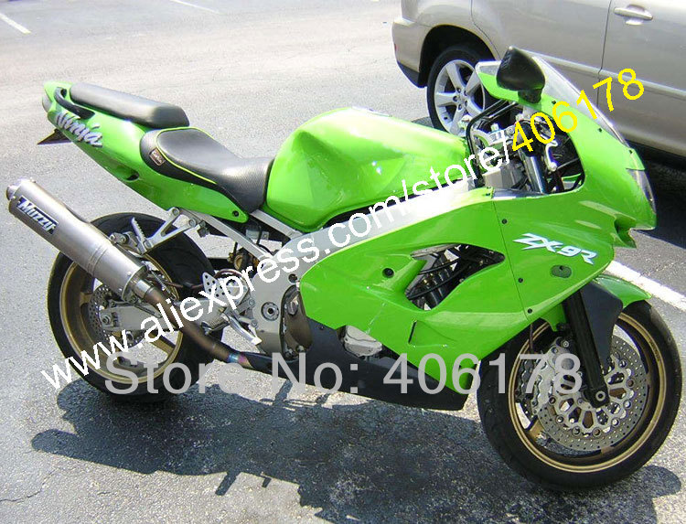 Hot Sales,Full Fairing Kit For KAWASAKI NINJA ZX9R 98-99 ZX 9R ZX-9R 9 R 98 99 1998 1999 Green Black Bodywork Body Fairings